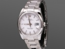 Rolex Oyster Perpetual Date, 34mm, vit index. Full set, nyservad