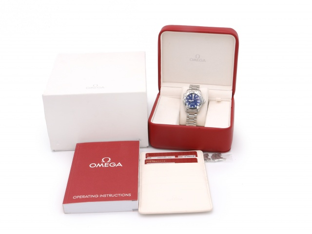 SÅLD - Omega Seamaster 300M Quartz Electric Blue 36mm, Full set, nytt batteri -19