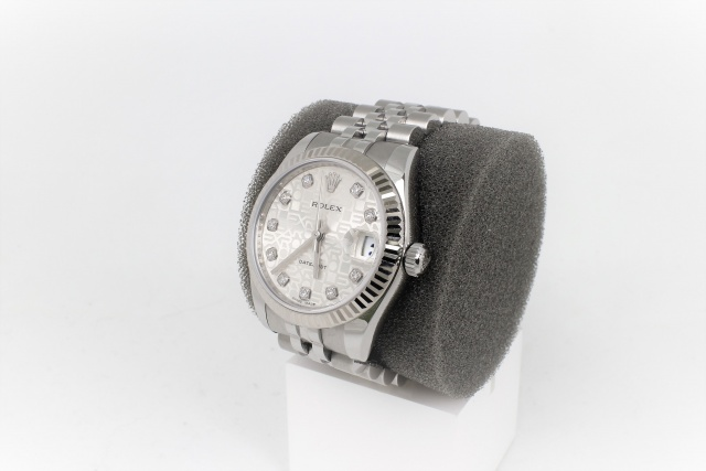 SÅLD - Rolex Lady 31 mm Datejust, diamantindex, Full set, -13, Nyskick